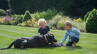 Oliver plays with his new friends at Four Seasons Hampshire