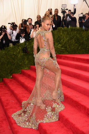 Beyonce captivates in custom Givenchy sheer tulle dress with multicoloured stone embroidered strategically