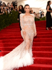 Kim Kardashian wears custom Roberto Cavalli dress