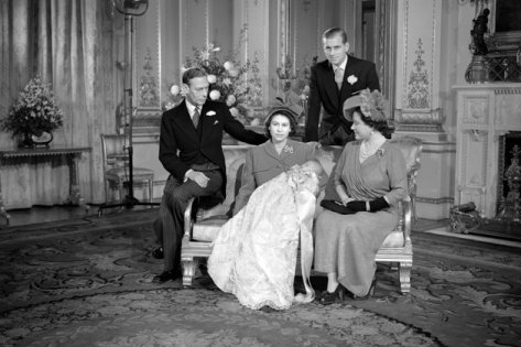 Prince Charles with his parents and grandparents.