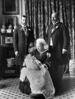 Queen Victoria holding King Edward VIII on the day of his christening
