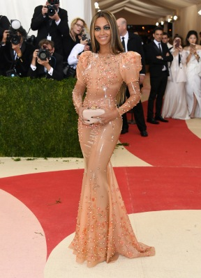Beyonce wears a latex gown by Givenchy