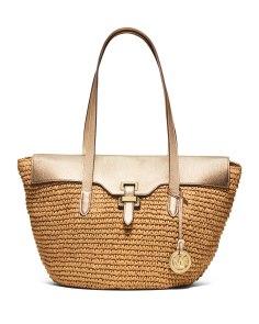 Michael Kors Naomi Large Straw Leather-Trim Tote Bag