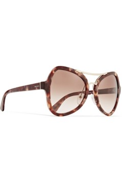 PRADA Butterfly-frame acetate and gold-tone sunglasses