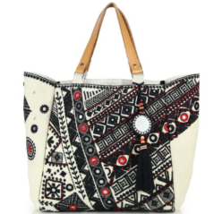 Star Mela Dara Embroidered Mirror Canvas Tote