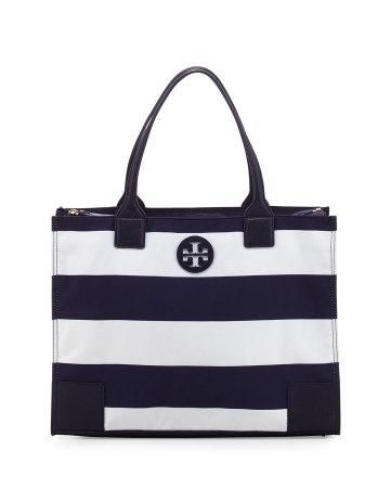 Ella Packable Navy Striped Zip-Top Tote Bag