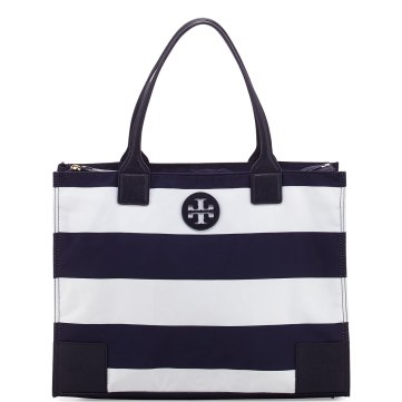 Ella Packable Navy Striped Zip-Top Tote Bag