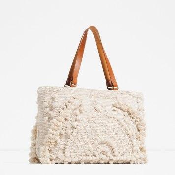 Zara Fabric Embroidered Tote