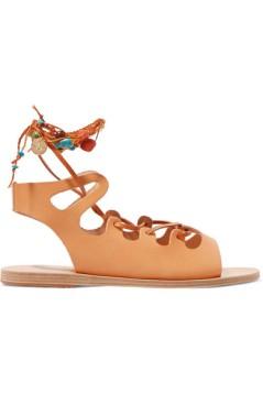 ANCIENT GREEK SANDALS Antigone embellished lace-up leather sandals