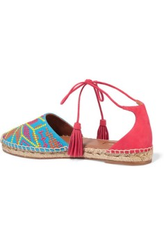 AQUAZZURA Palm Springs embroidered canvas and suede espadrilles 2