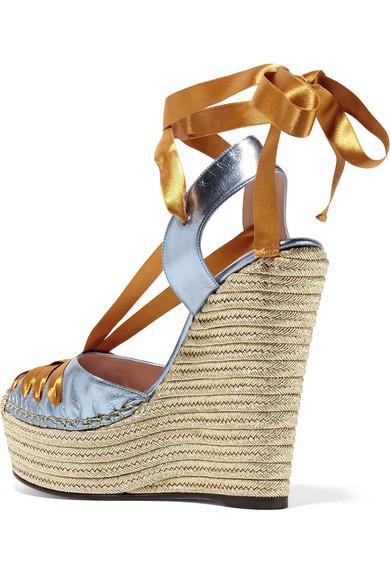 36772ba4e9e8 GUCCI Metallic leather and satin espadrille wedge sandals – Luxury ...