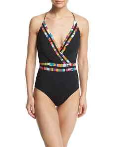 NM- Nanette Lepeore Mambo Printed-Trim Surplice-Neck One-Piece Swimsuit
