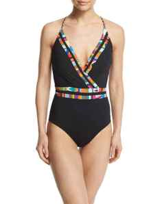 NM- Nanette Lepeore Mambo Printed-Trim Surplice-Neck One-Piece Swimsuit