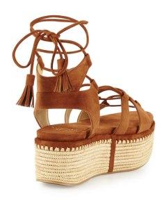 NM - Stuart Weitzman Romanesque Lace-Up Platform Sandal, Saddle