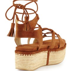 NM - Stuart Weitzman Romanesque Lace-Up Platform Sandal, Saddle