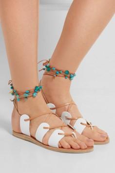nP - ANCIENT GREEK SANDALS Amaryllis embellished lace-up leather sandals