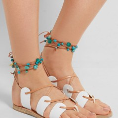 nP - ANCIENT GREEK SANDALS Amaryllis embellished lace-up leather sandals