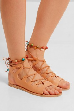 NP - ANCIENT GREEK SANDALS Antigone embellished lace-up leather sandals