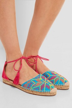NP - AQUAZZURA Palm Springs embroidered canvas and suede espadrilles