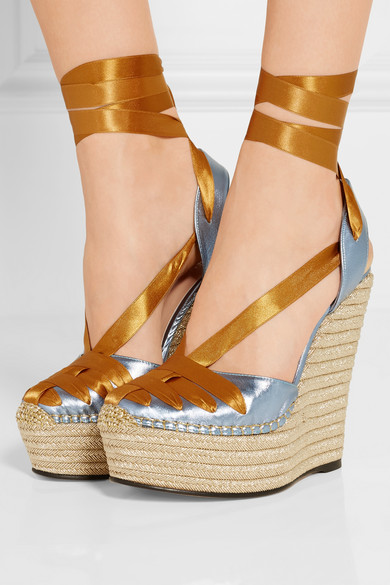 NP - GUCCI Metallic leather and satin espadrille wedge sandals