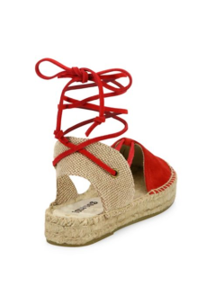 Soludos Suede Lace-Up Platform Espadrille Sandals