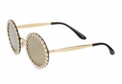 Dolce & Gabbana FLoral-Trim Mirrored Round Sunglasses. Shop at SaksFifthAvenue.com