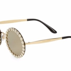 Dolce & Gabbana FLoral-Trim Mirrored Round Sunglasses. Shop at SaksFifthAvenue.com