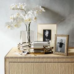 Bedroom Dresser Floral Arrangement in a Crystal Block Vase by Williams Sonoma