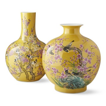 Yellow Hummingbird Ginger Jar and Gourd Vase by Williams Sonoma
