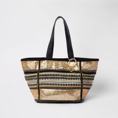 Black and Gold Embroidered Metallic Beach Tote by River Island