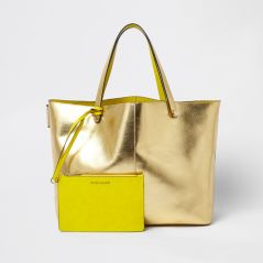 Gold Metallic Beach Tote by River Island