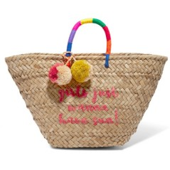 St Tropez PomPom embellished embroidered wven straw tote by Kayu