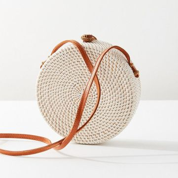Structured Circle Straw Crossbody Bag