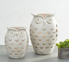 Ceramic Owl Hurricane Jars by Pottery Barn