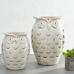Ceramic Owl Hurricane Jars by Pottery Barn