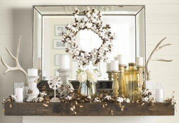 Cotton Wreath over mantle