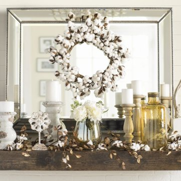 Cotton Wreath over mantle
