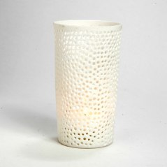 Venetian Votives Bisque Ceramic Votives with lace perforations