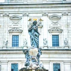 Marian Statue at Domplatz, Salzburg. Image Courtesy: Vindscape