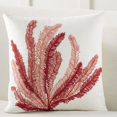 Coral Plant Embroidered Pillow. Image Courtesy - Pottery Barn
